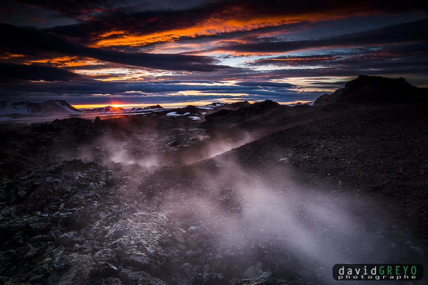 Fumeroles sur un volcan - Islande